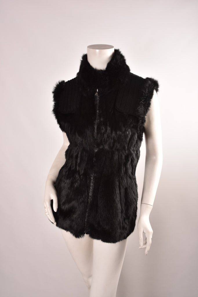 LINDA RICHARDS Reversible Rex Rabbit Fur Vest | Size XS