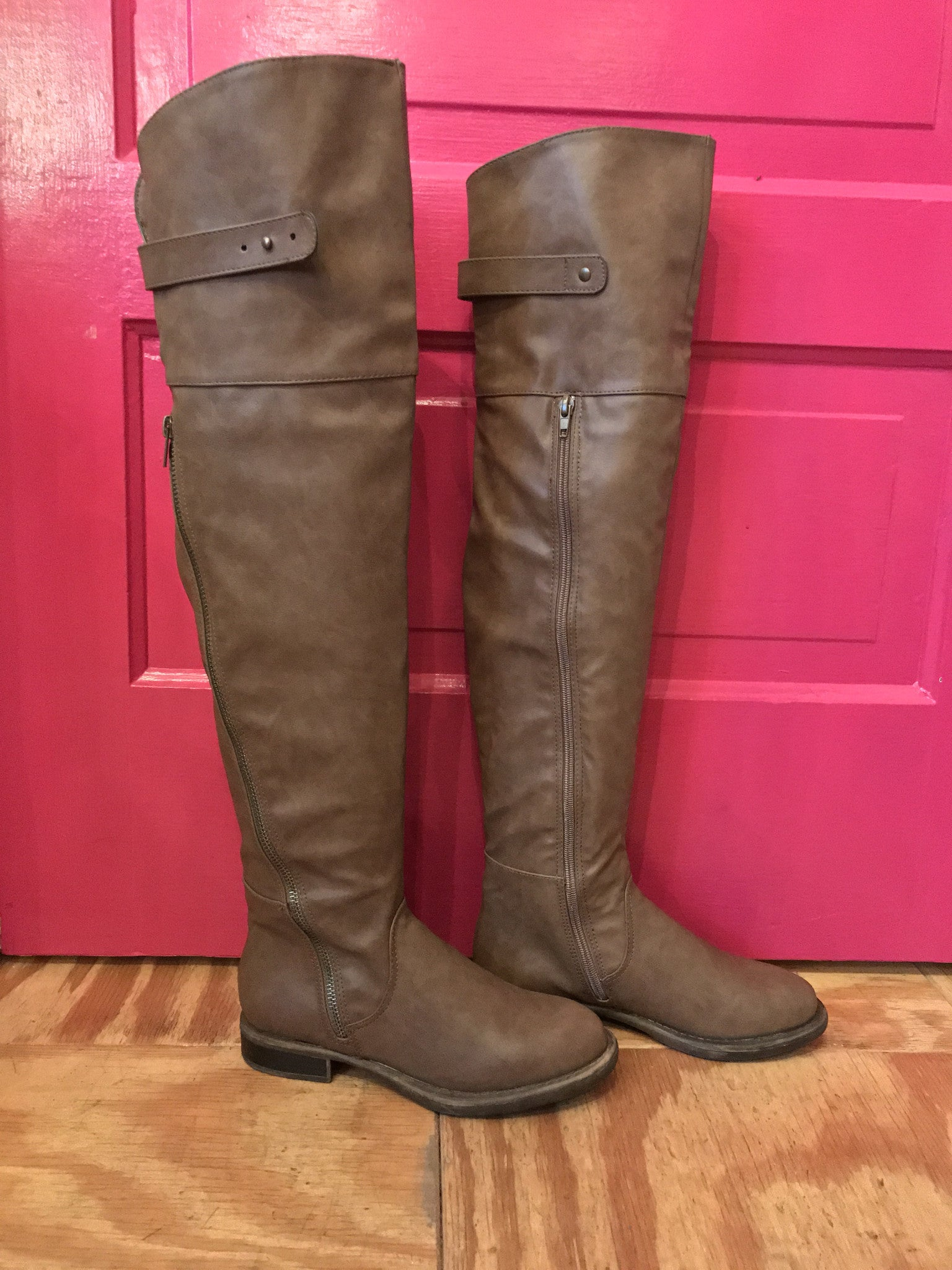 d8447d115cc60 Just Fab Brown Thigh High Boots Side View ...