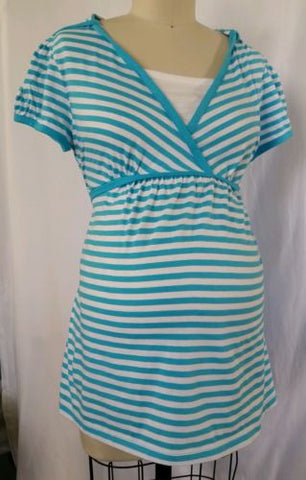 Soon to Be Turquoise Short Sleeve Striped Hooded Knit Top NWT