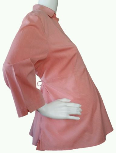 Duo Maternity Coral V-neck Woven Empire Waist Top w/Back Ties
