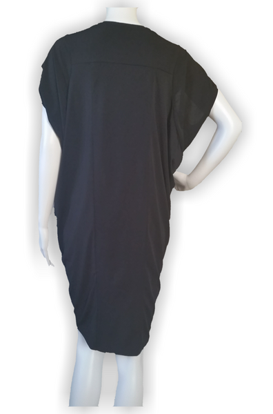 Black Draped Detail Knit Dress