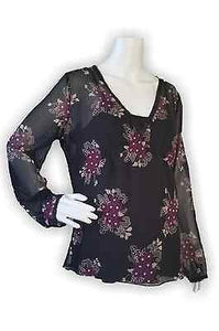 EUC Old Navy Maternity Black Sheer Floral Top