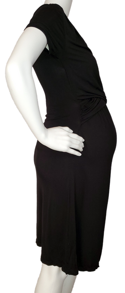 Criss-Cross Top Black Knit Maternity & Nursing Dress