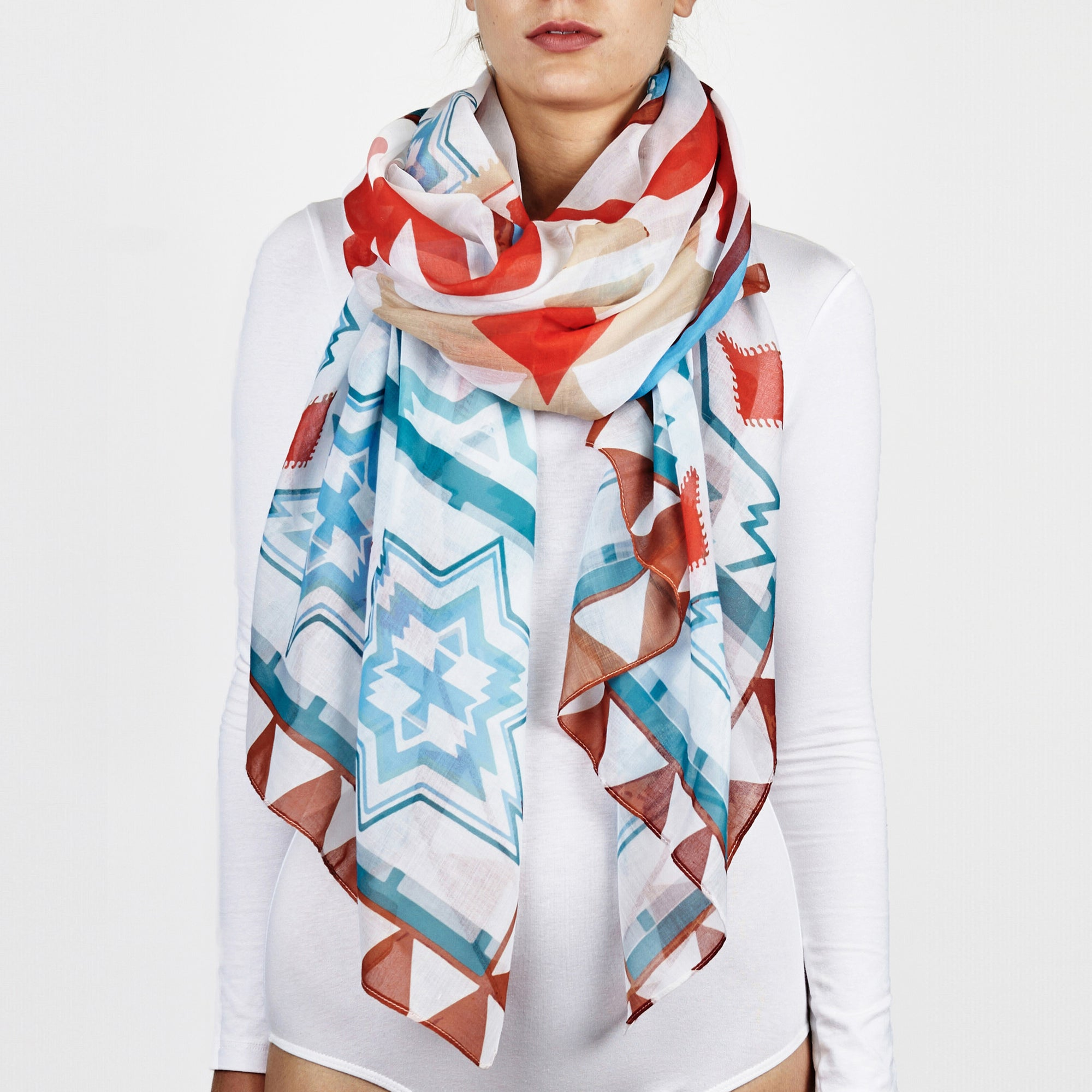 157b1d054e3a3 Printed Village Women's Scarf - Patterned - Light Blue - One Size ...