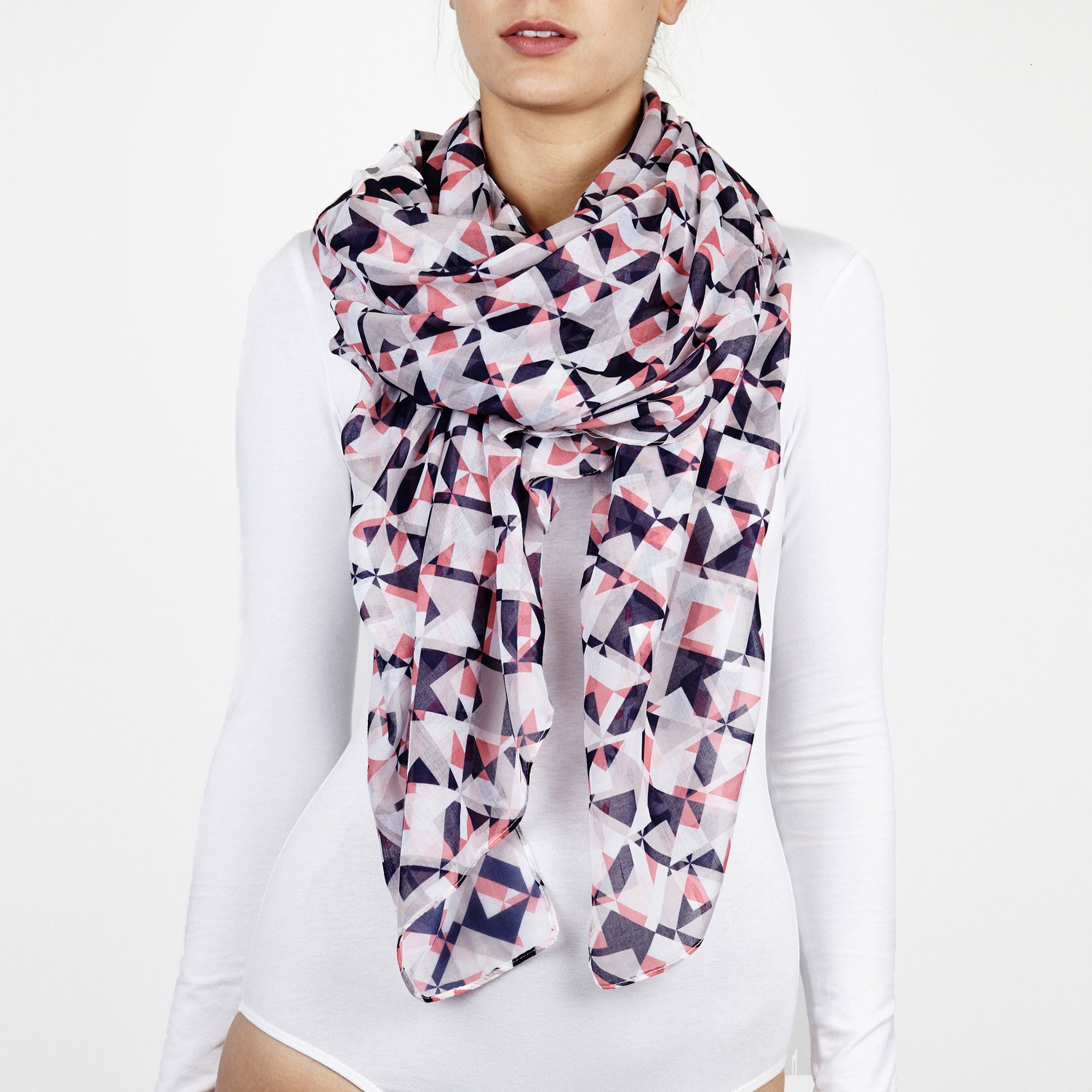 37709858b37ff Printed Village Women's Scarf - Patterned - Black/White - One Size -  Fractured Geo