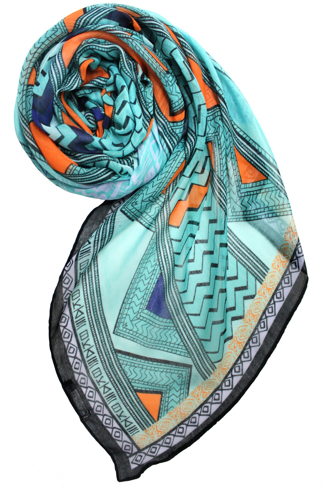 8aa0320edbc5e Printed Village Women's Scarf - Paisley - Light Blue - One Size - African  Tribe Blue