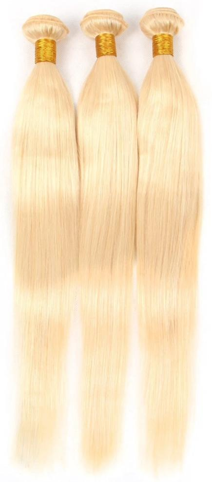 Brazilian Straight Remy Human Hair 613 Blonde Bundles With Closure