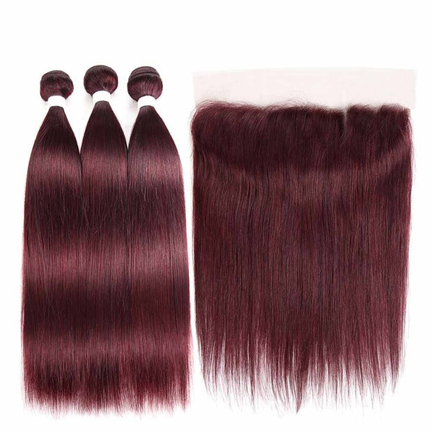 100% Brazilian Straight Human Hair Colored Bundles With Frontal - Remy