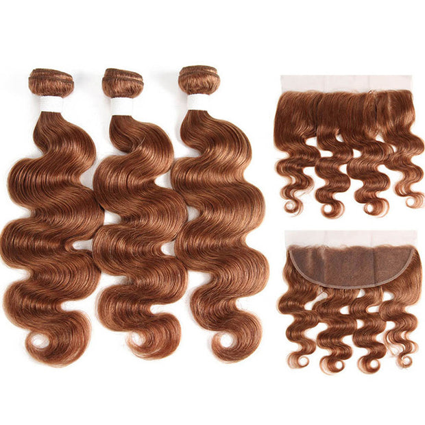 Colored Human Hair Body Wave Lace Frontal With 3 Bundles With Closure 13x4