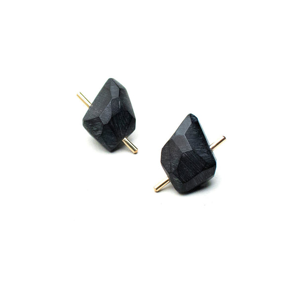 Black Gold Rock Earrings