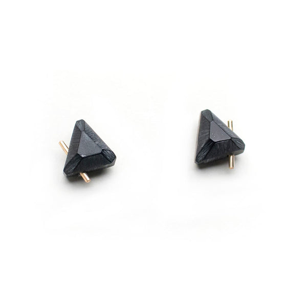 Black Gold Trilateral Earrings