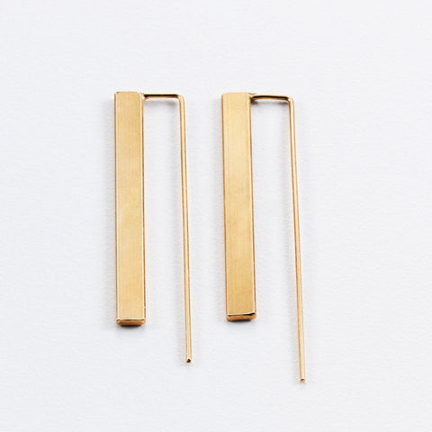 3D Flat Bar Earrings (Medium)