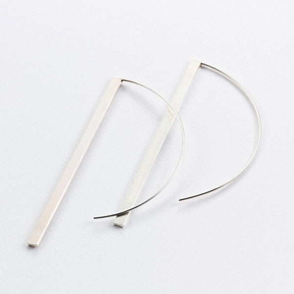 Vertical Slash Hook Earrings (Long)