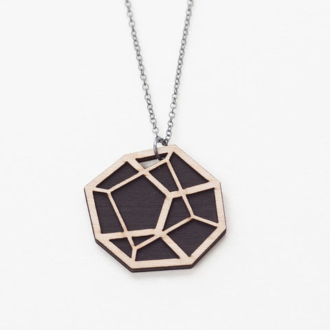 Wood Pentahedron Necklace