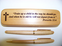 """Proverbs 22:6"" Maple Wood Pen and Pencil Set"