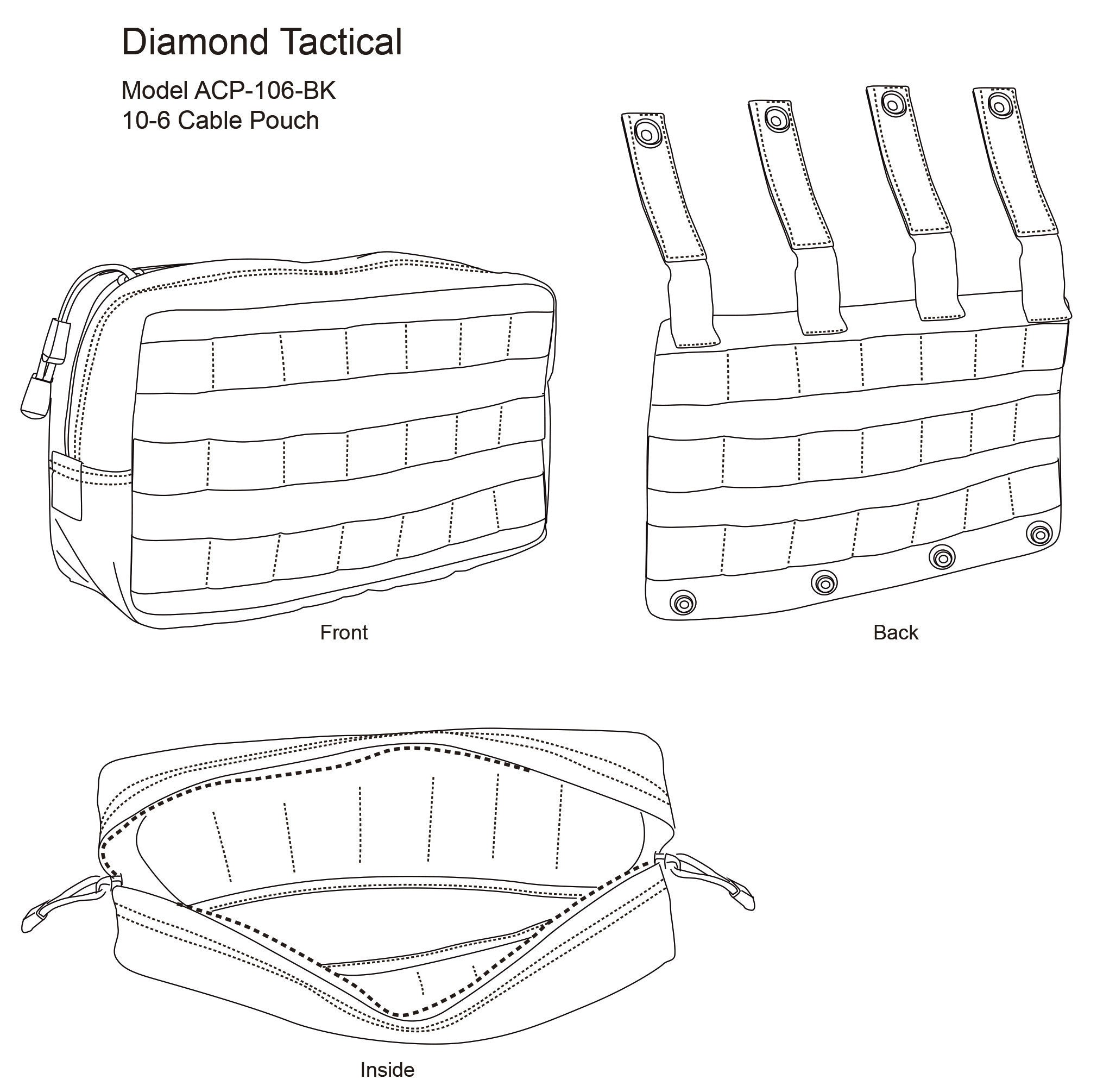 diamond tactical 10-6 cable  wah pouch