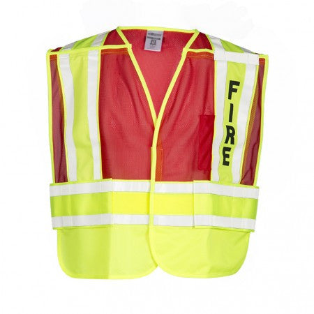 ML Kishigo 8052BV 200 PSV Fire Safety Vest Lime Yellow and Red
