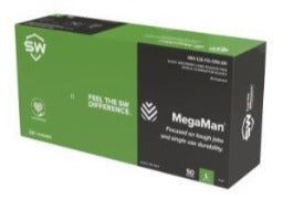 Megaman® Black Nitrile Flocked Disposable Glove 2XL 50Ct