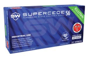 Supercede® S6 Nitrile Powder-Free Gloves, 100/Box, 10 Box/Case