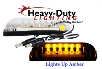 "HD40106YC  4"" Slim-Line Rectangular Amber / 2-Wire LED Clearance Marker / Clear Lens"
