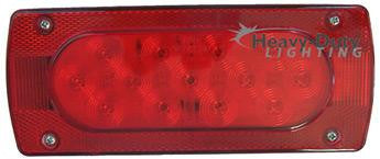 HD83019TR Rectangular RED Stop / Tail / Turn Trailer Light w/ Right Hand Side Marker
