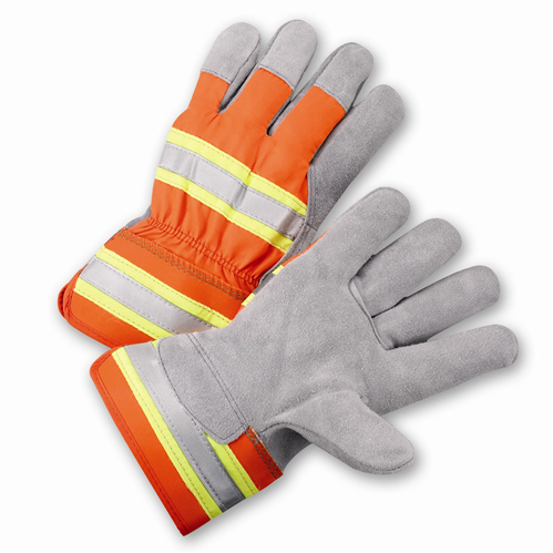 Gloves West Chester HVO500 High-Visibility Split Cowhide Leather Palm Gloves