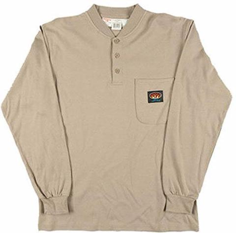 Khaki Henley Long Sleeve T-Shirt