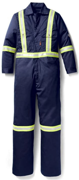 "FR Navy Reflective Coverall with 2"" Reflective Tape, Rasco FR FR3205NV"