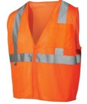 Pyramex RVZ2120SE Type R Class 2 Self Extinguishing Mesh Safety Vest- Orange