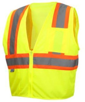 Pyramex RVZ2210 Class 2 Type R Hi Vis Safety Vest Lumen-X  Lime Yellow