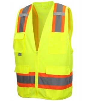 Pyramex RVZ2410 Type R Class 2 Non FR Self Extinguishing Hi Vis Safety Vest Lime Yellow