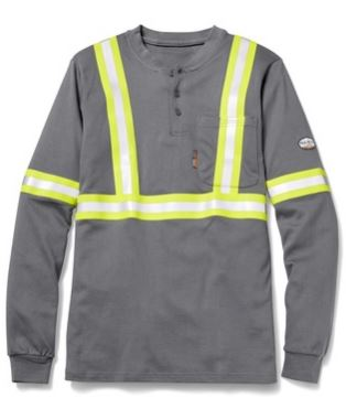 Hi Viz FR GTF454S Gray Henley T-Shirt with Reflective Striping