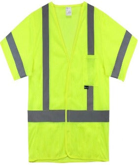 West Chester 47308 Class 3 High Visibility Short-Sleeved Safety Vest FR Lime Yellow