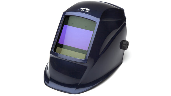 Welding Helmet -Pyramex Metallic Blue Auto Darkening Helmet with Digital Controls WHAD6030MB