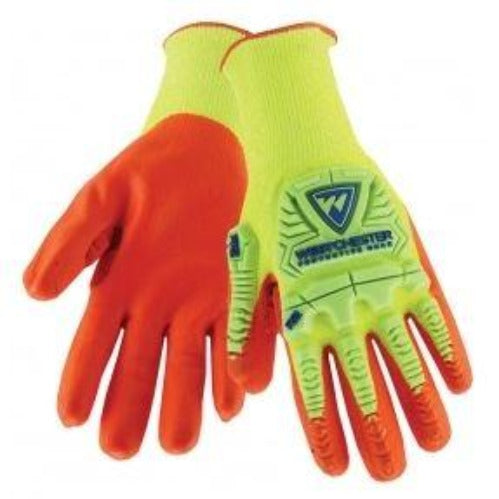 Gloves West Chester HVY710HSNFB PIP R2 Hi-Vis Seamless Knit Impact Protection HPPE Blended  - Nitrile Coated Foam Grip