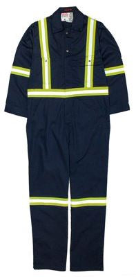 FR Navy Blue Coverall 7.5oz Size 42 X 32 with Reflective Trim, Rasco FR, BFR750-S