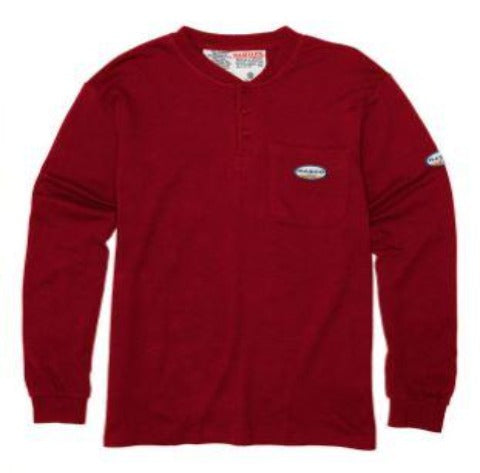 FR Henley Long Sleeve T-Shirt, Rasco RTF459- Red