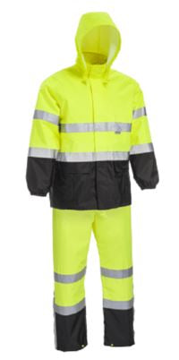 West Chester RN78747 Hi Vis Black Bottom Waterproof Rain Suit - ANSI 3