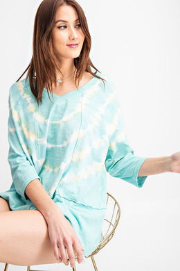 3/4 Sleeves Special Washed Boxy Cotton Slub Top Knitted Belle Boutique