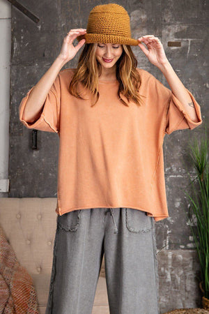 3/4 Slvs Mineral Washed Terry Knit Boxy Top Knitted Belle Boutique