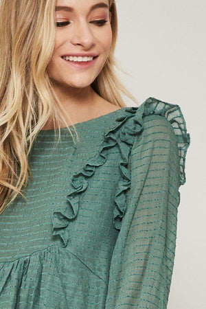 A Semi-sheer Striped Woven Top Knitted Belle Boutique