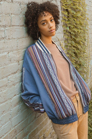 A Woven Jacket That Features Tribal Striped Accents Knitted Belle Boutique