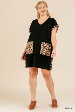 Animal Print Short Folded Sleeve V-neck Dress With Side Buttons And Front Pockets Knitted Belle Boutique
