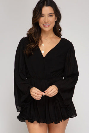 Bell Sleeve Pleated Romper - Black Bottoms She and Sky