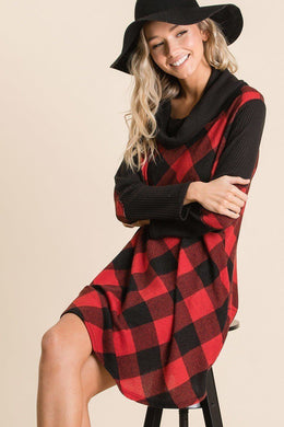 Buffalo Plaid Tartan Swing Dress Knitted Belle Boutique