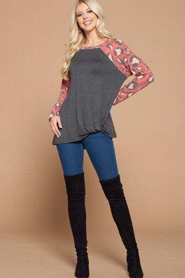 Casual French Terry Side Twist Top With Animal Print Long Sleeves Knitted Belle Boutique