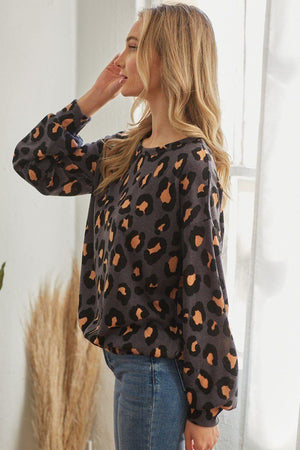 Casual Leopard Print Long Sleeve Knitted Belle Boutique