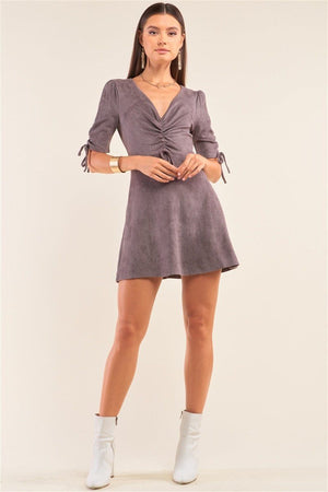 Charcoal Grey Suede Deep Plunge V-neck Gathered Detail Tight Fit Mini Dress Knitted Belle Boutique