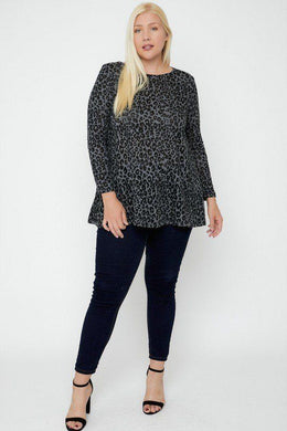 Cheetah Print Tunic - Charcoal - Curvy Knitted Belle Boutique