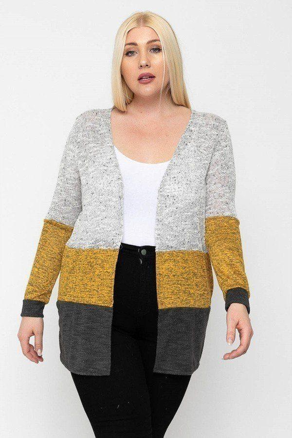 Color Block, Lightweight Cardigan Knitted Belle Boutique